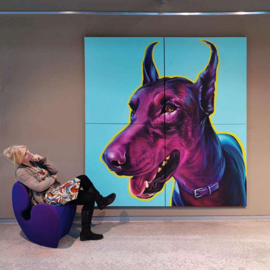 Renate Berghaus Malerei Black Dobermann-a0d0a3b3